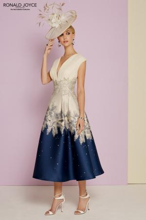 f90e6f6c501 Style 29353 Stunning dress in French Navy and Beige print £489