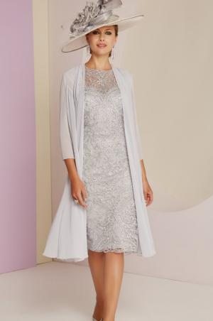 3e6b9b1652d Style 991434 Gorgeous lace dress and chiffon coat in Platinum £629