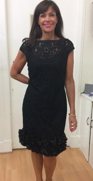 34a9fa805a Style 191524 Black lace dress with ruffle hemline and cap sleeves £299